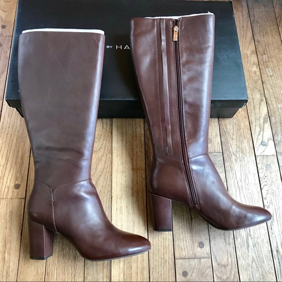 NIB H by Halston brown leather Beverly heeled boot d1eb1a3eb7d09